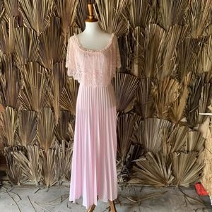 Vintage 1970s Pink Pleated Dress Formal Gown